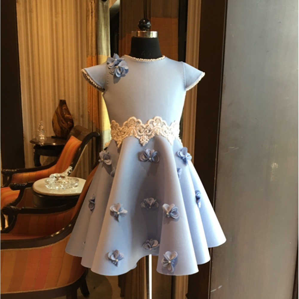Powder blue heart flower lace dress