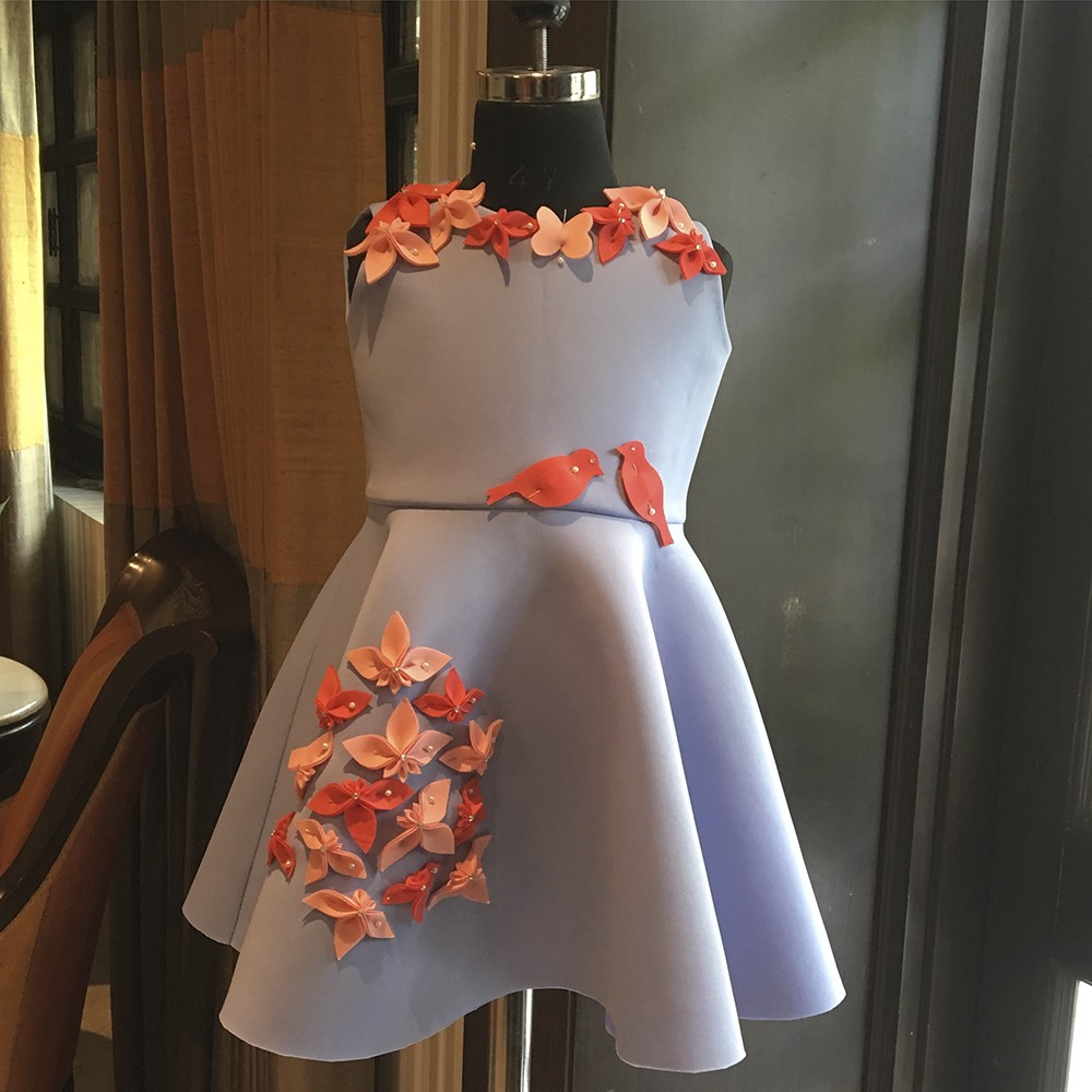 Powder blue love birds dress