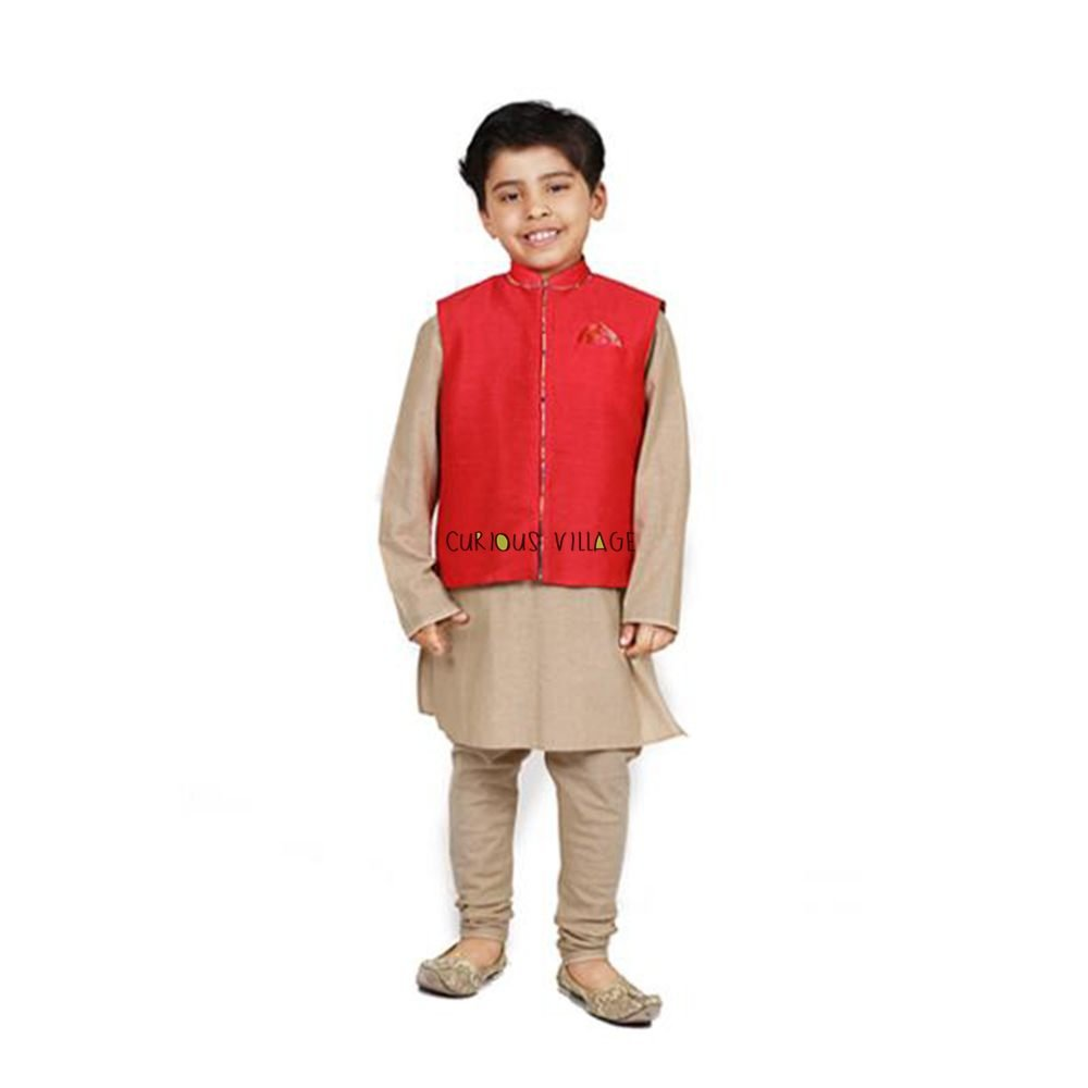 Raw silk red nehru jacket gold cotton kurta churidar