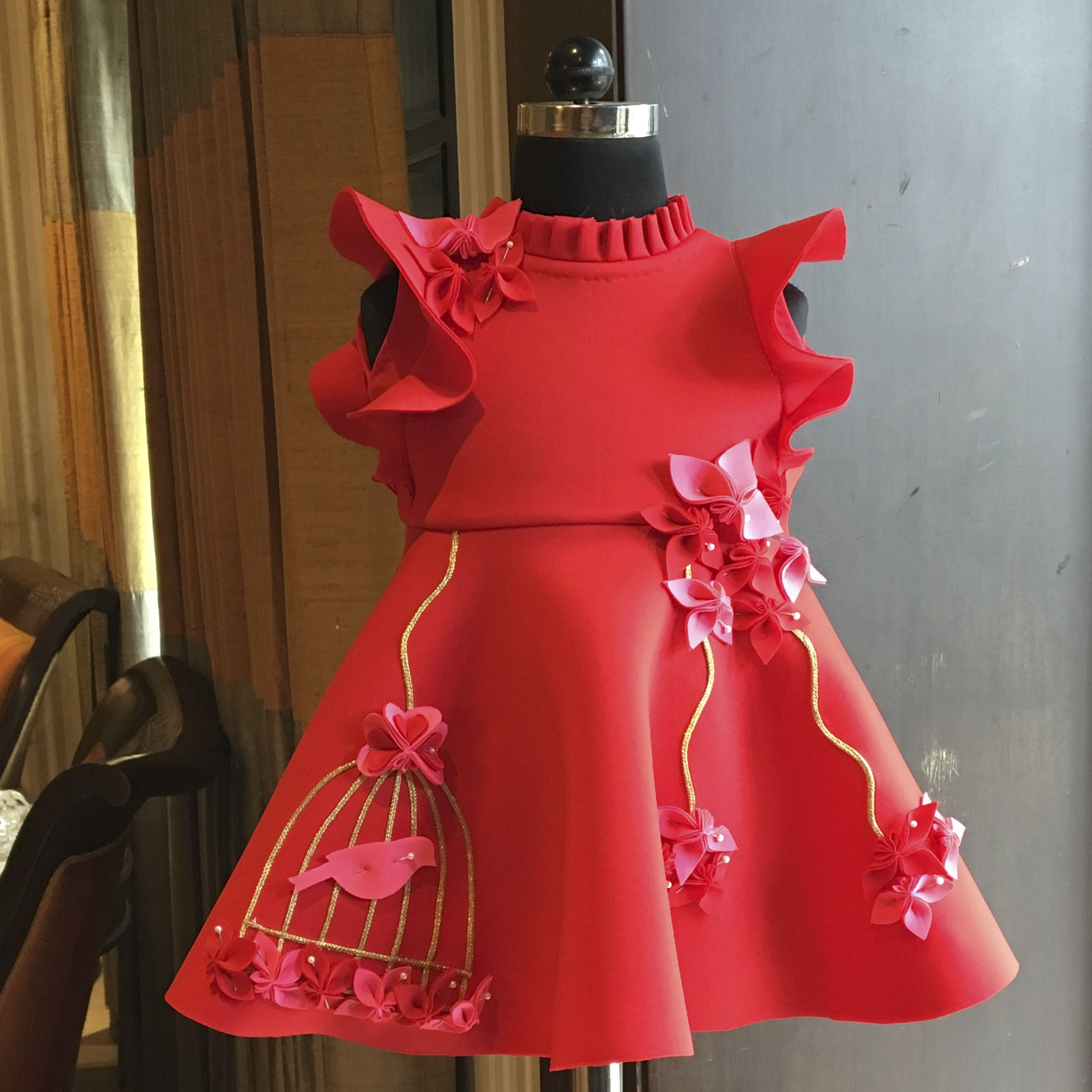 Red fuchsia pink bird cage dress