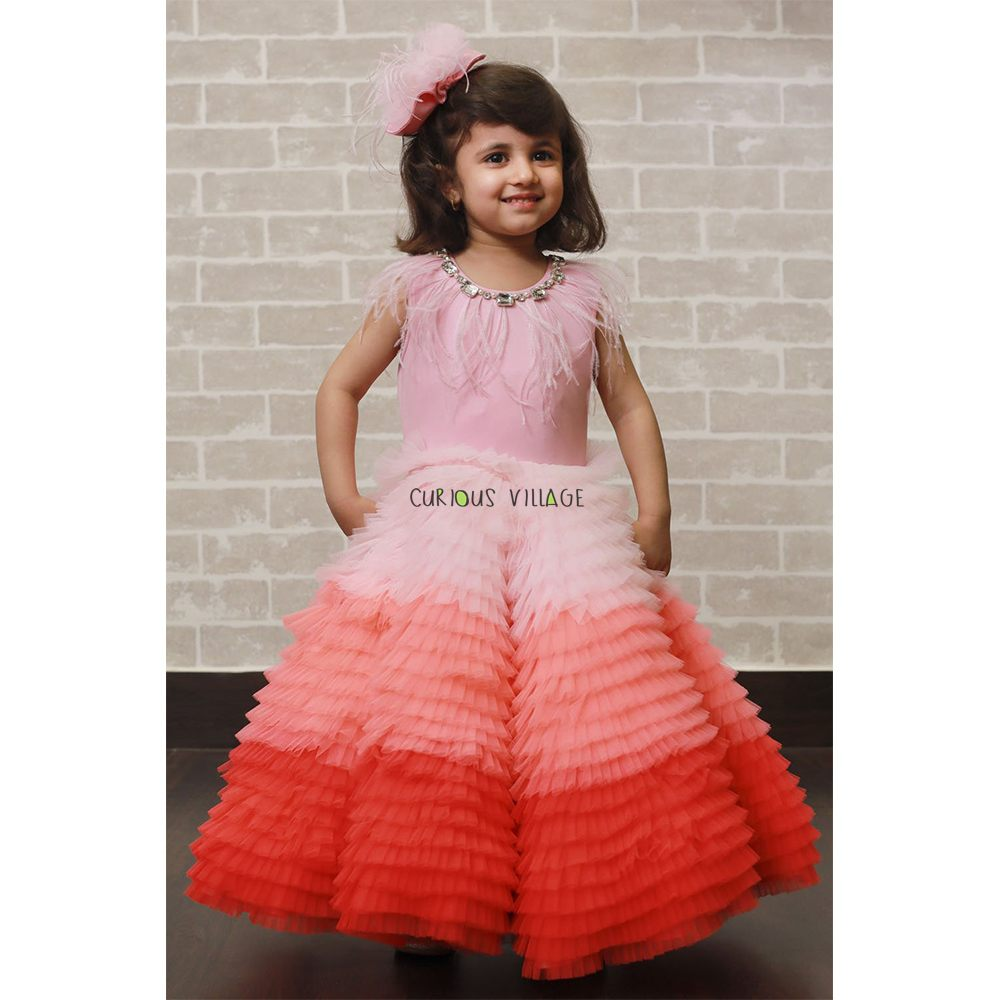 Shaded Pink Frill Feather Dress