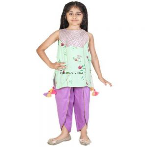 SHORT GREEN KURTI DHOTI PANTS