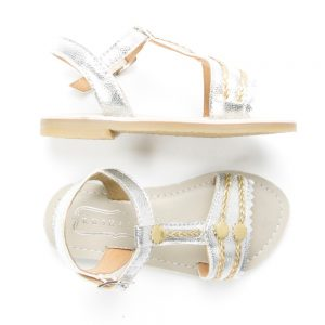 Silver gold braids sandals