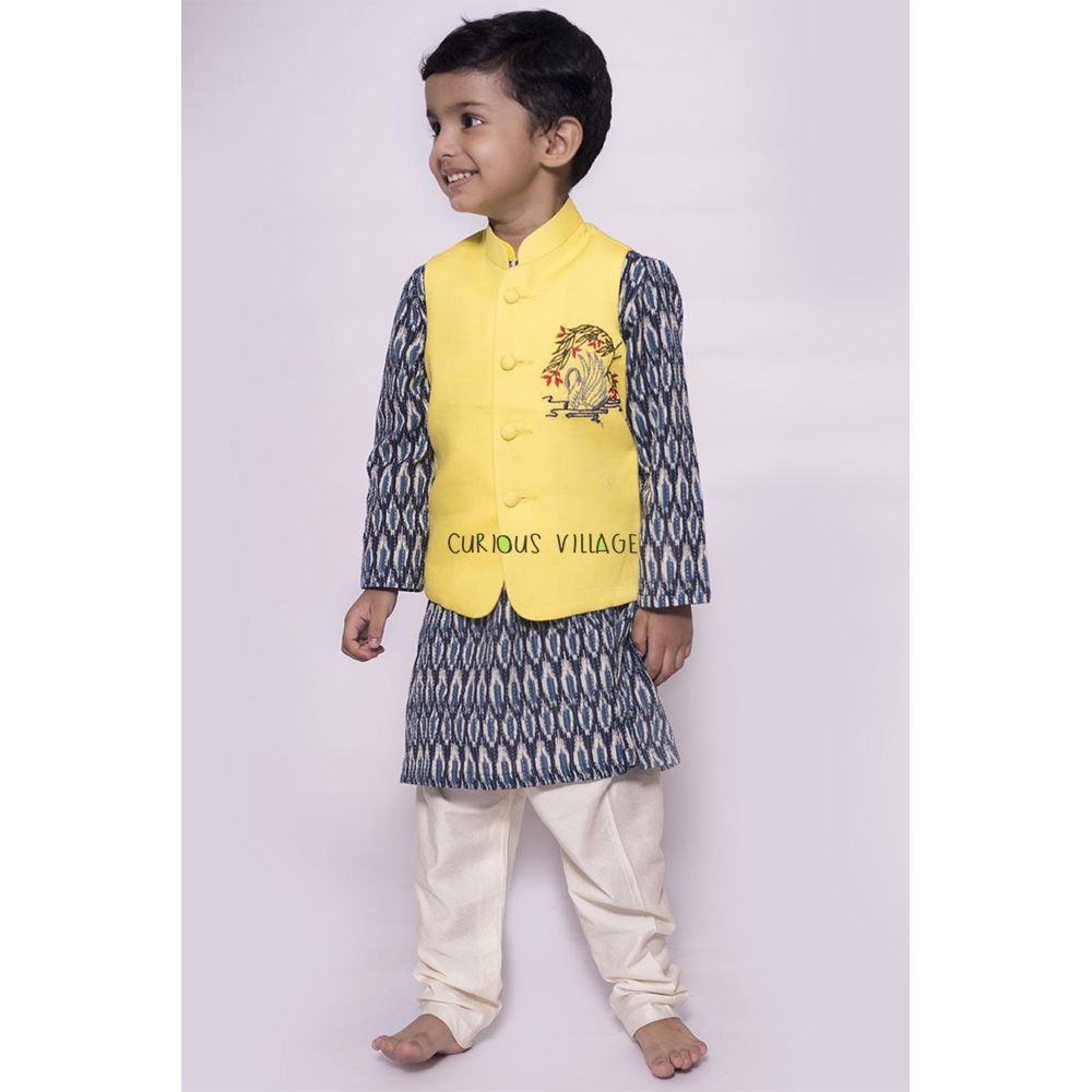 Swan Embroidered Nehru Jacket with Ikat Kurta Churidar