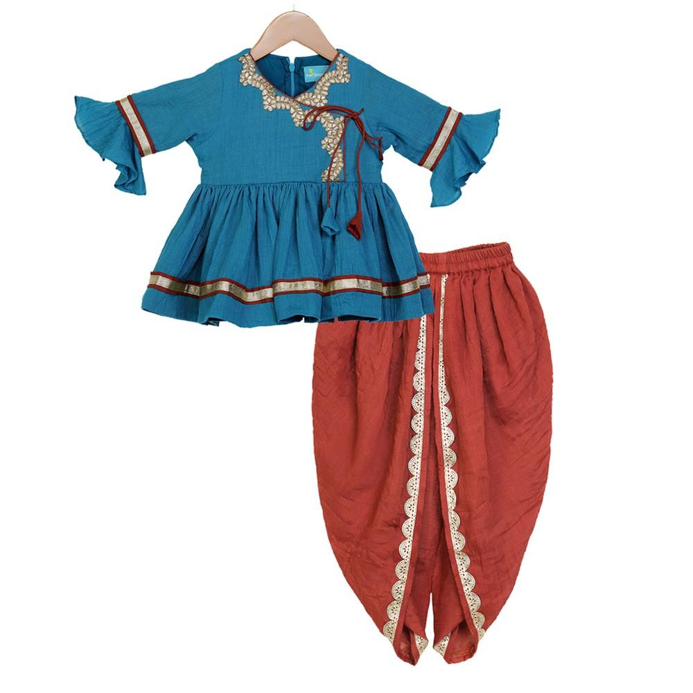 Turquoise Blue Traditional Dhoti Set