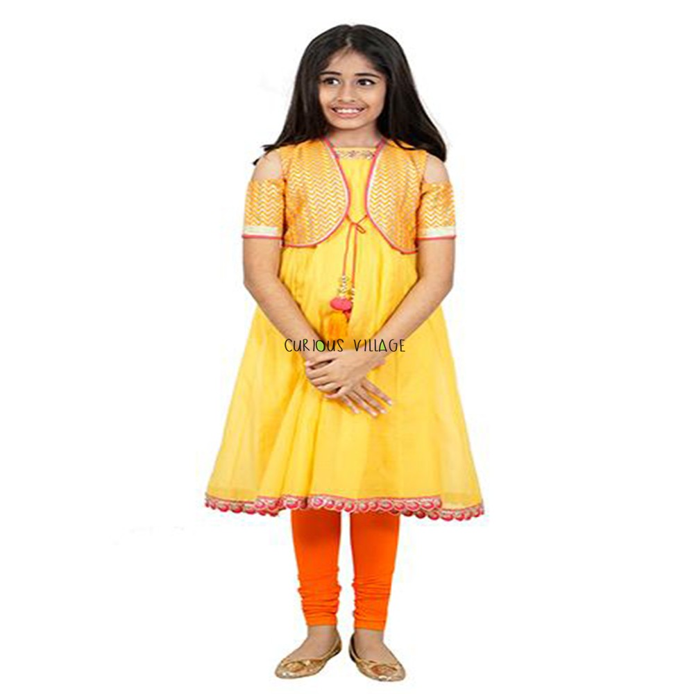 YELLOW KURTI CHANDERI JACKET SUIT