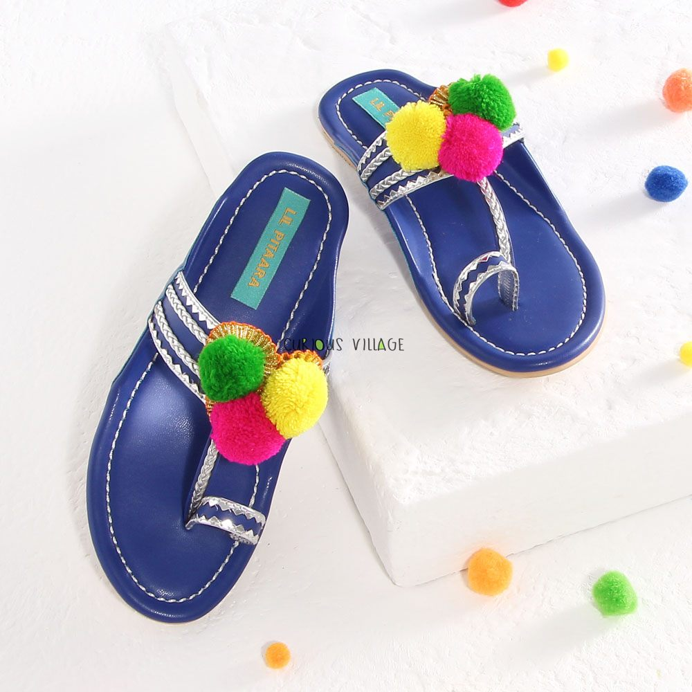 Blue Pom Pom Kolhapuri