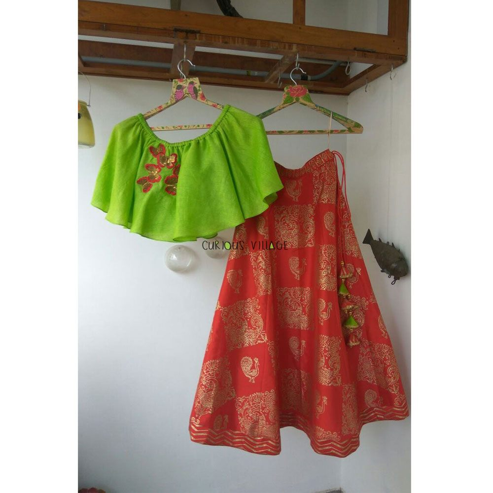CHILLI RED TAFETTA GHAGRA AND PARROT GREEN FRINGE TOP WITH BUTTERFLIES