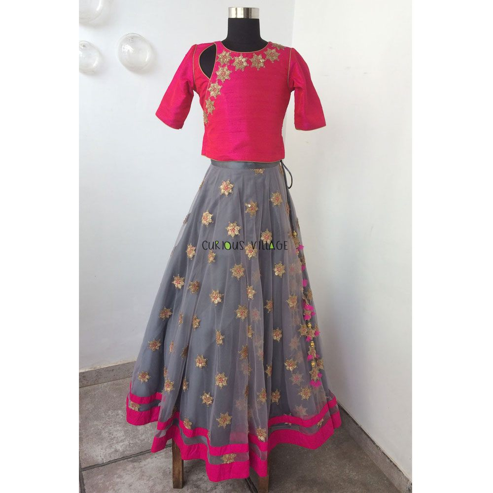 GREY FANCY NET GHAGRA WITH FUSIA ANGRAKHA BLOUSE