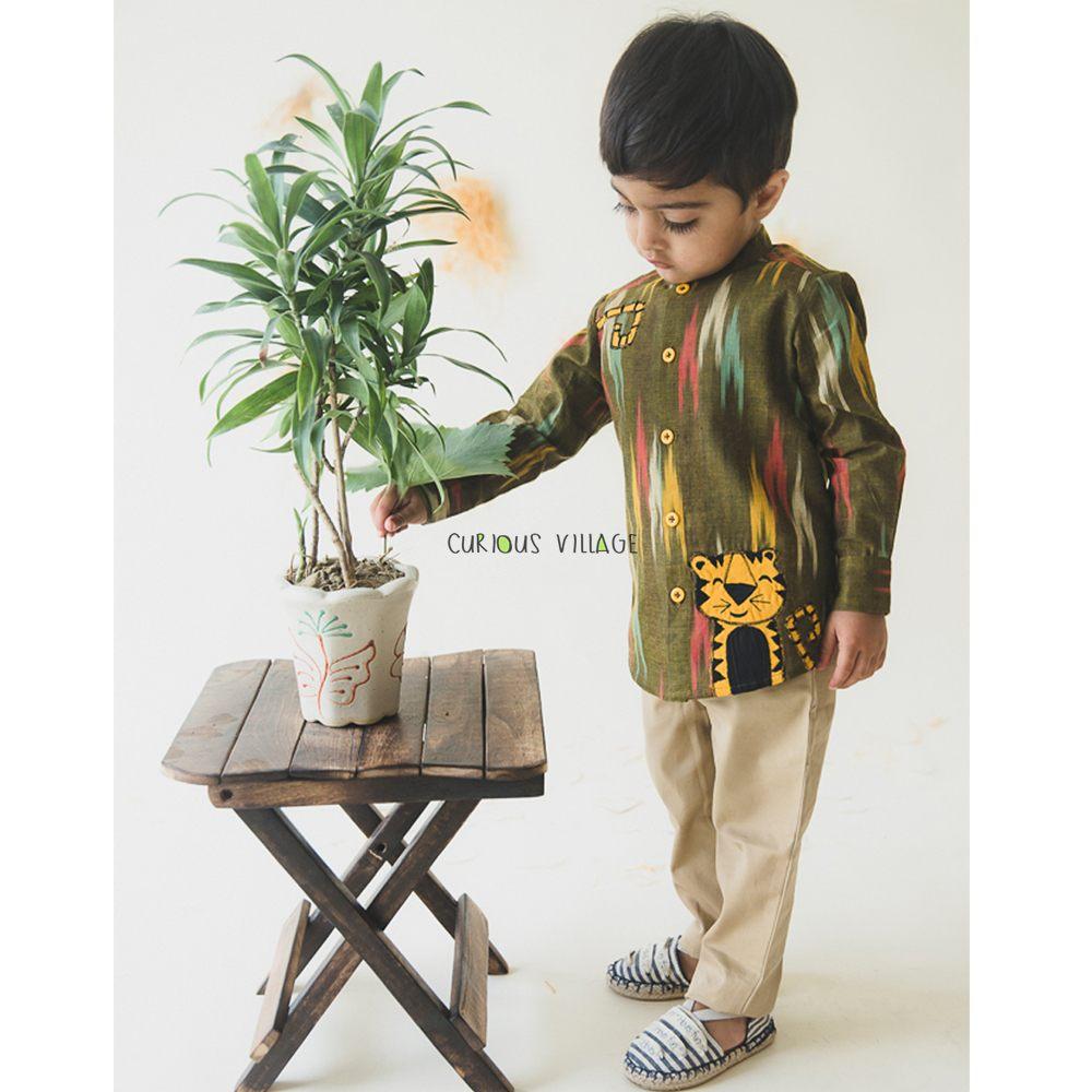 Green Tiger Ikat Shirt