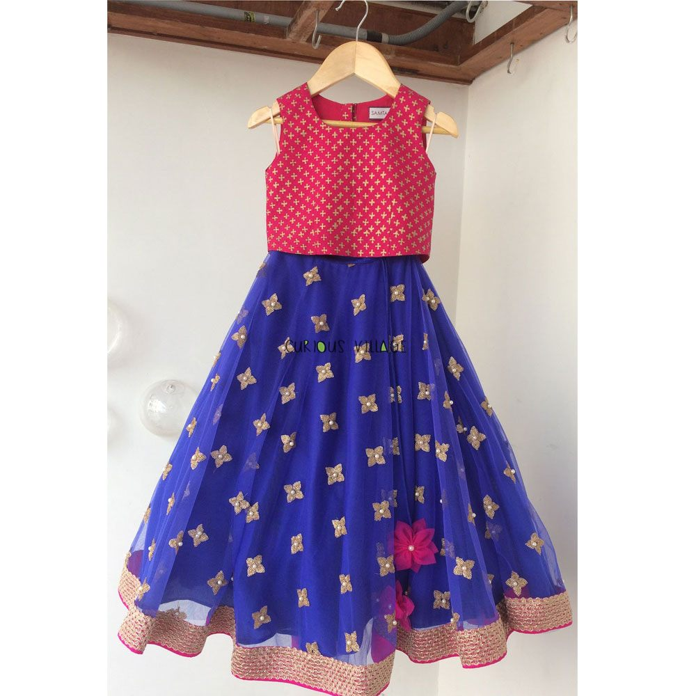 INK BLUE FANCY NET GHAGRA WITH FUSIA BLOCK BLOUSE