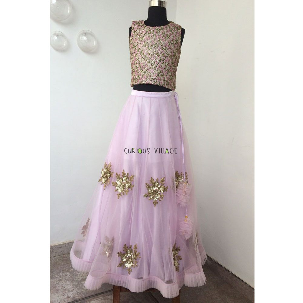 LAVENDER NET GHAGRA WITH FRILL AND GOLD BUTTIS AND FANCY BLOUSE