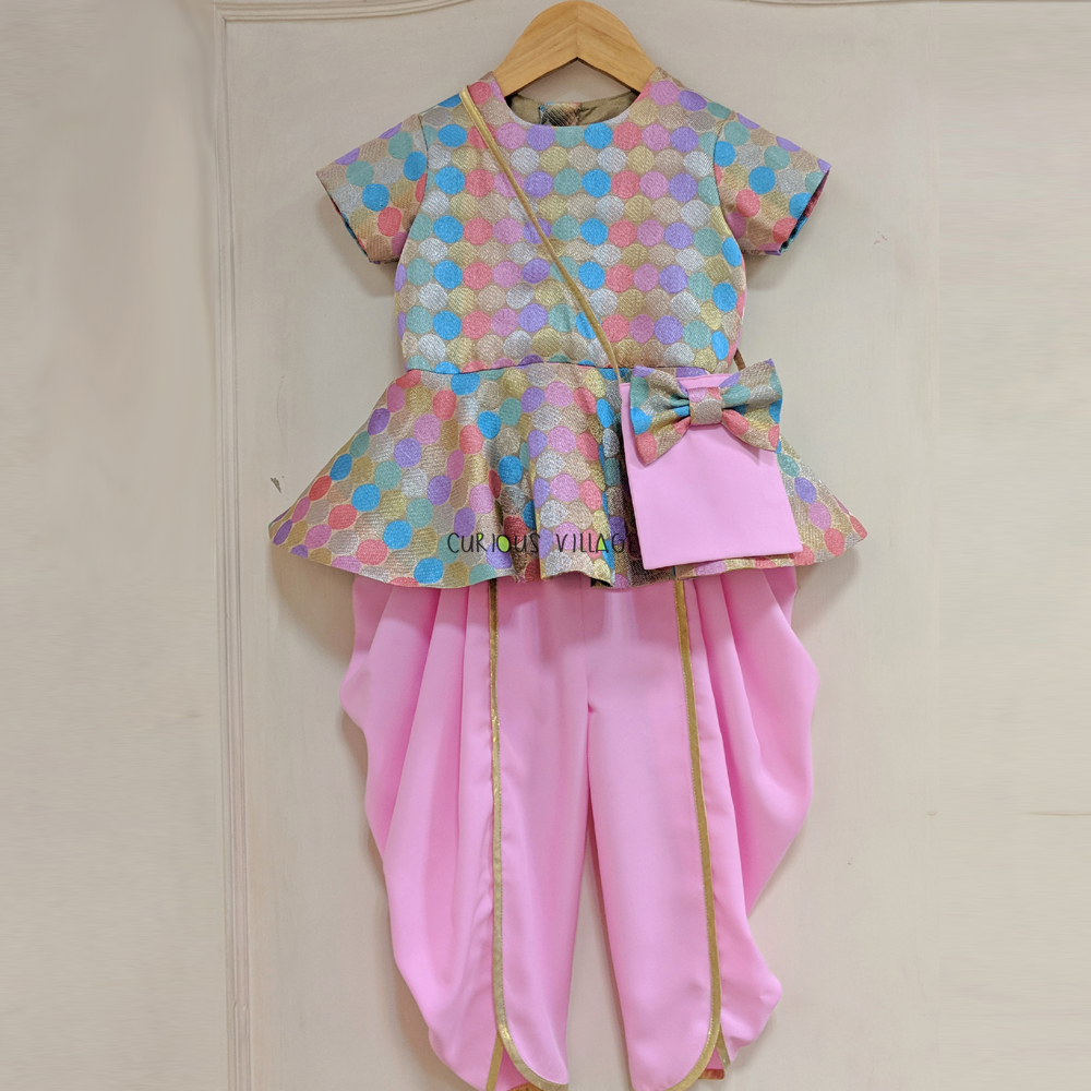 Multicolor Peplum Top Dhoti With Bag