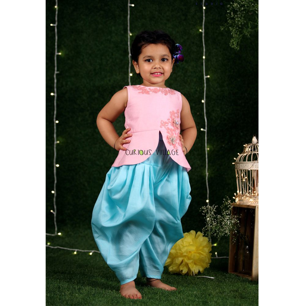 PINK PEPLUM TOP AND BLUE DHOTI