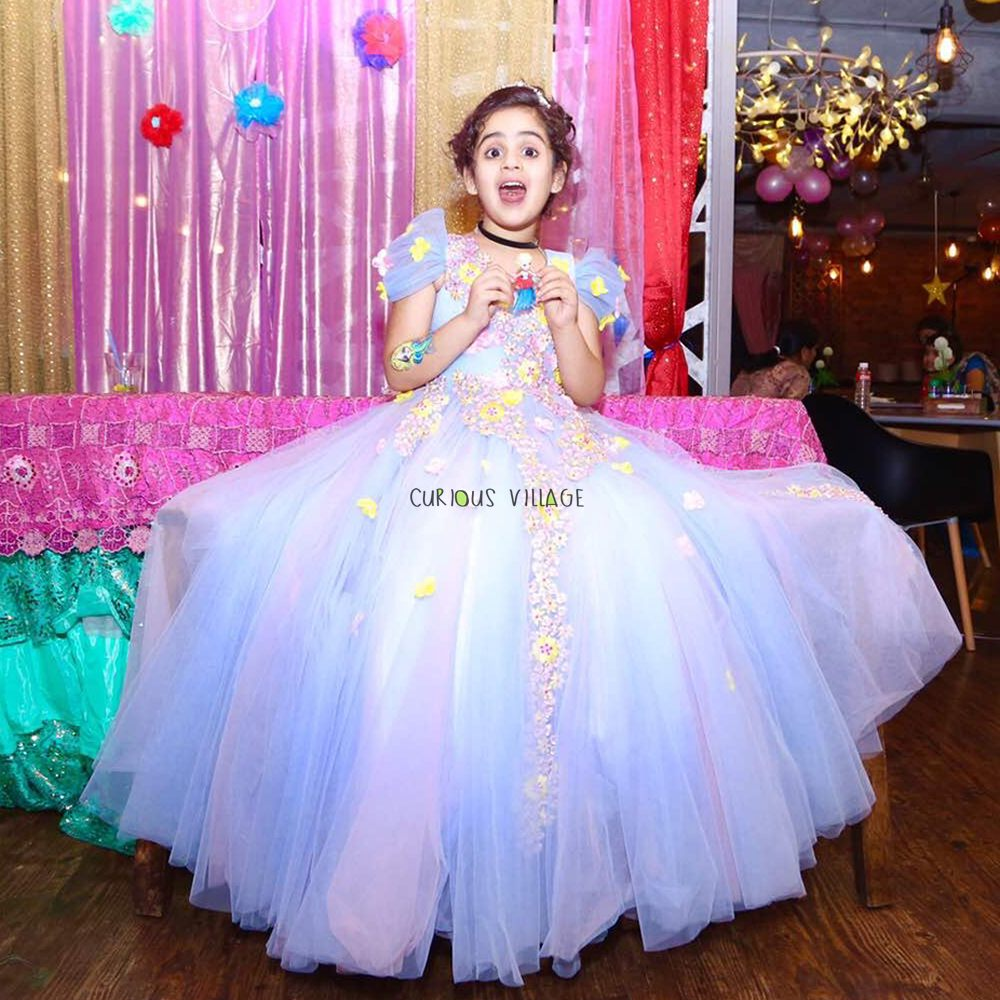 BLUE AND PINK SHADED PRINCESS GOWN WITH PETAL FLOWERS