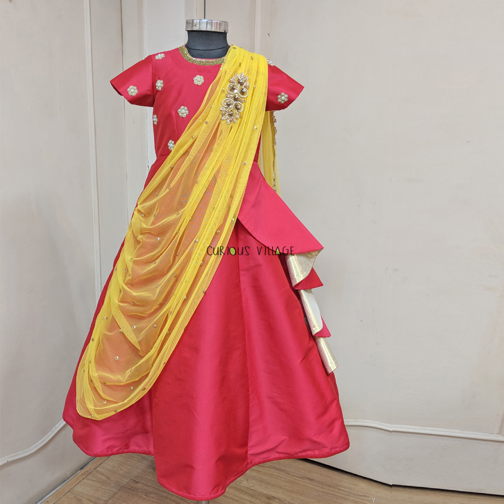 Embroidered Draped Indian Gown & Pasa Hair Clip