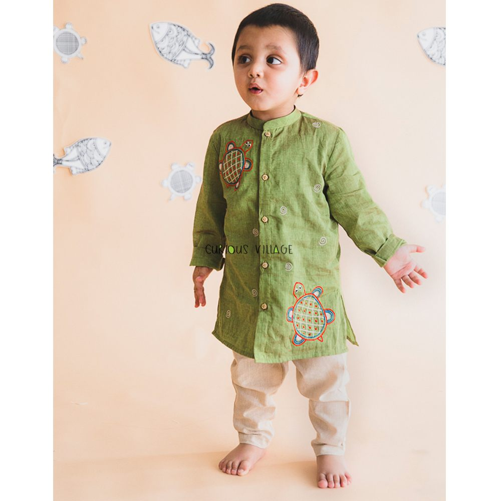 Baby Boy Green Tortoise Kurta Set