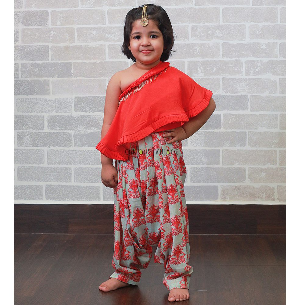RED AND PISTA GREEN PATIALA CAPE DRESS