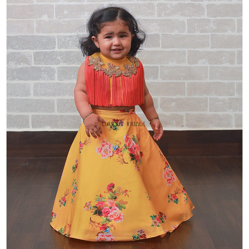 yellow and corel Indo-western ghagra set
