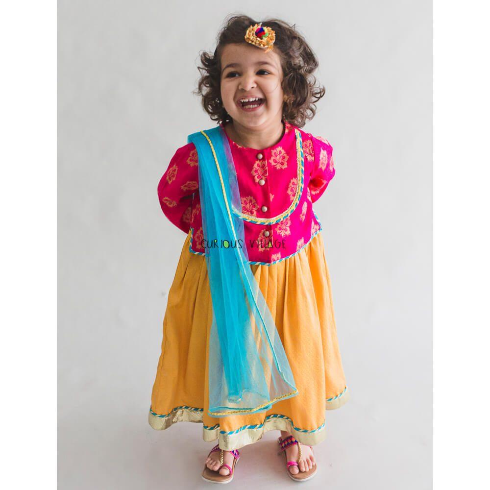 da22ad31676 Girl Pink- yellow 3 pc lehenga set - Curious Village
