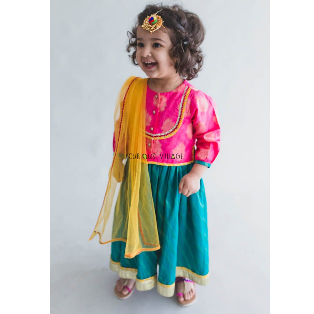 285e4a7094c Girl baby Pink- teal 3 pc lehenga set - Curious Village