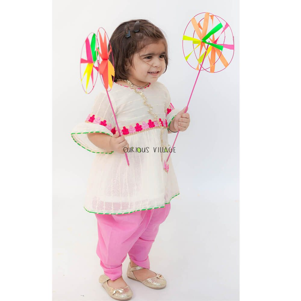 Offwhite Embroidery Kurti With Dhoti Curious Village