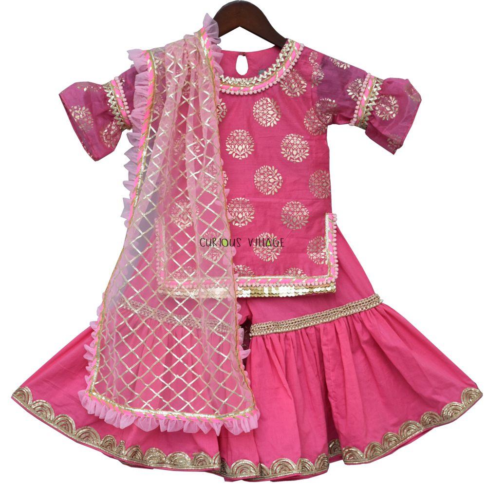 843a2685934f Pink Foil Print Kurti with Sharara - Curious Village