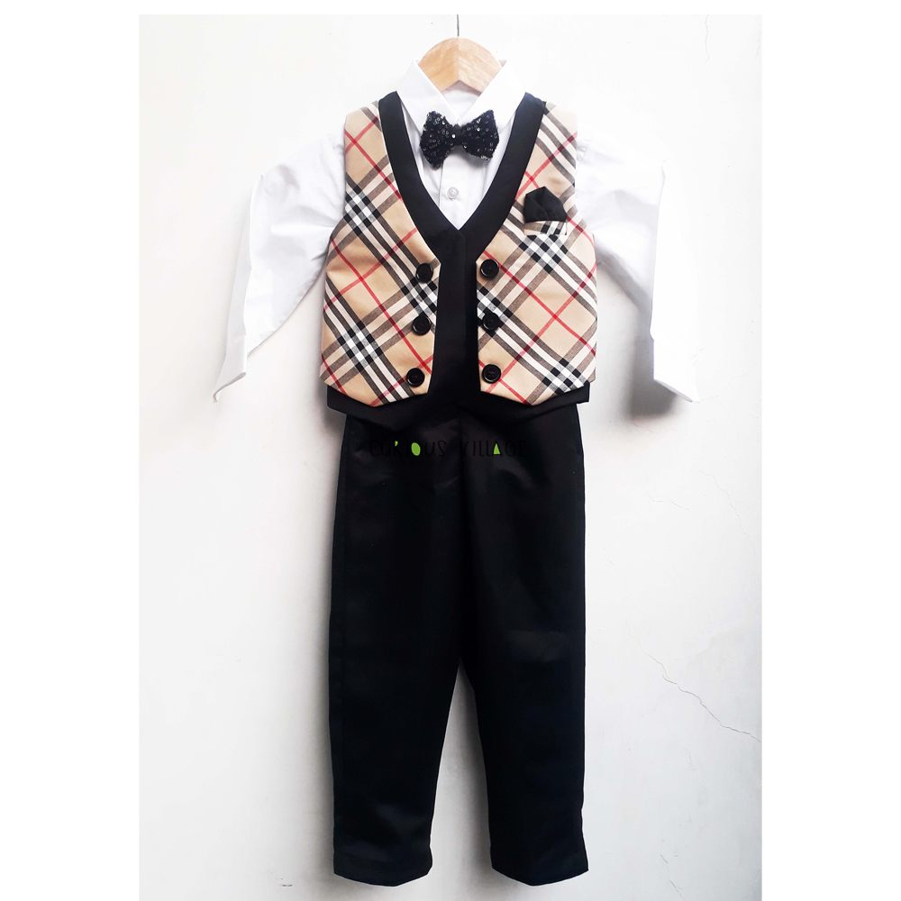 White shirt black pant with burberry check waist coat ...