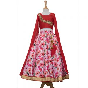 f000ddf0af5 Pink Hand Embroidery Crop Top with long cape sleeves with Floral Lehnga