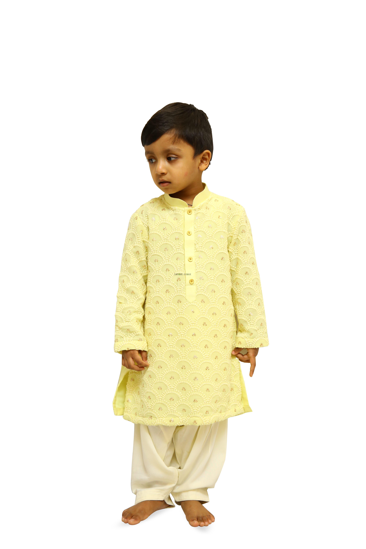 Yellow Chikankari  Kurta  Dhoti