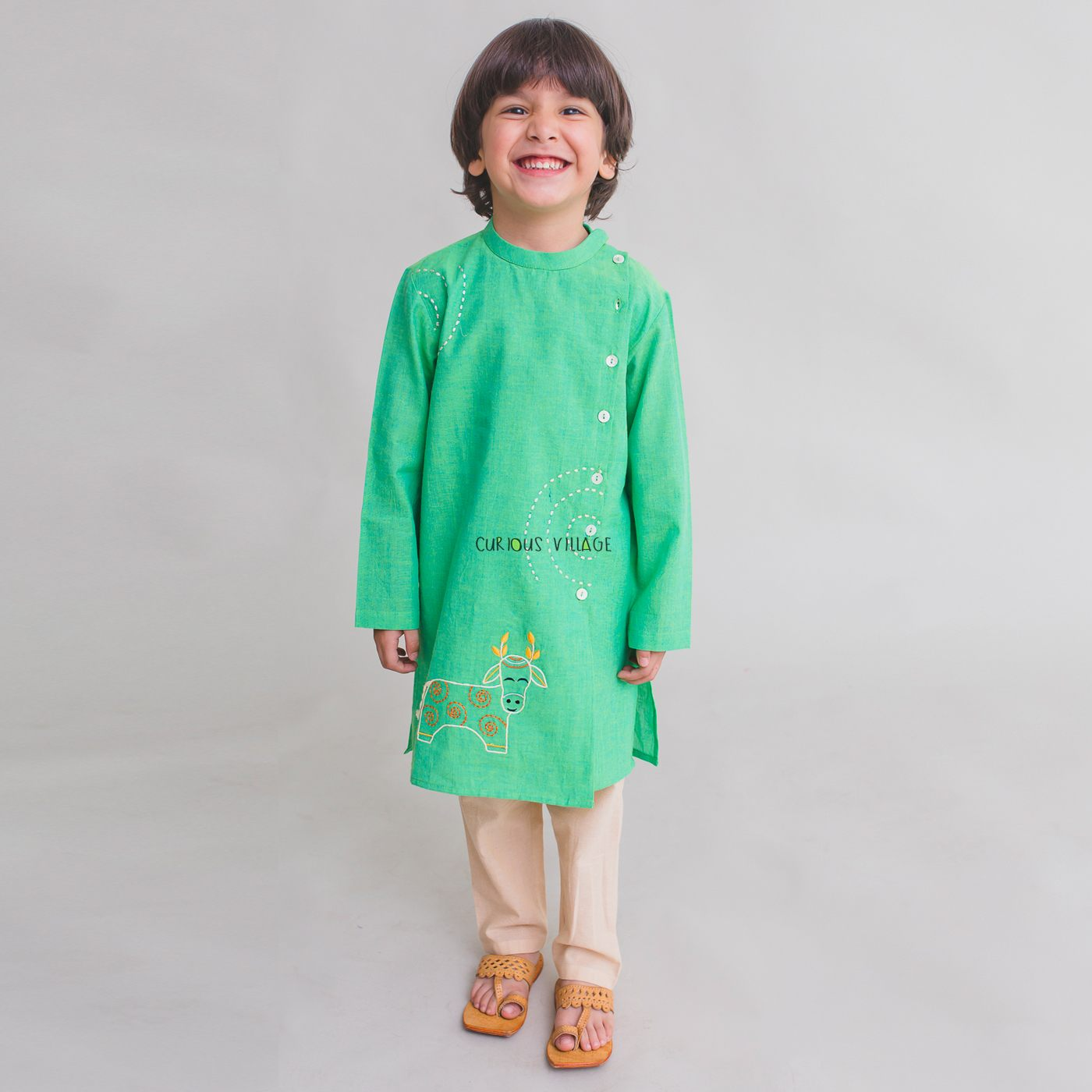 Gond Green Cow kurta set